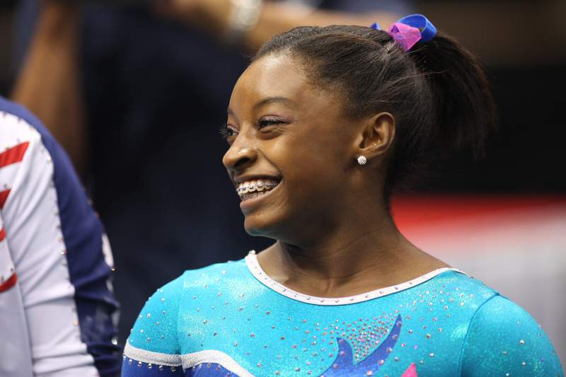 Simone Biles is shown in action during the floor exercise during the Senior Women's Competition at The 2013 P&G Gymnastics Championships at the XL Centre in Hartford, Connecticut.