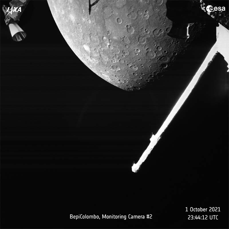 This image made available by the European Space Agency (ESA) shows planet Mercury taken by the joint European-Japanese BepiColombo spacecraft Mercury Transfer Modules Monitoring Camera 2, Friday, Oct. 1, 2021. (ESA via AP)