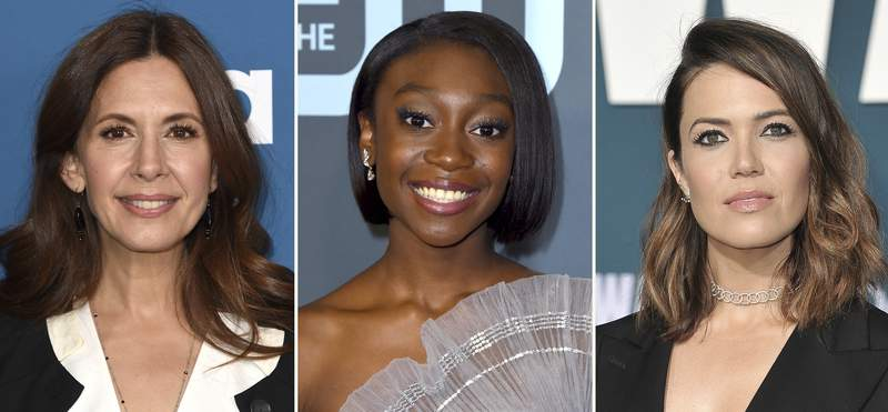 """This combination photo shows Jessica Hecht, from left, at the premiere of """"The Sinner"""" Season 3 on Feb. 3, 2020, in Los Angeles, Shahadi Wright Joseph at the 25th annual Critics' Choice Awards on Jan. 12, 2020, in Santa Monica, Calif. and Mandy Moore at the world premiere of """"Midway"""" on Nov. 5, 2019, in Los Angeles. Hecht, Joseph, Moore and dozens of other actors are teaming up to talk about something rarely mentioned on stage: periods. """"Period Piece"""" will consist of 36 monologues by 36 different playwrights performed over three different performances in April. (AP Photo)"""