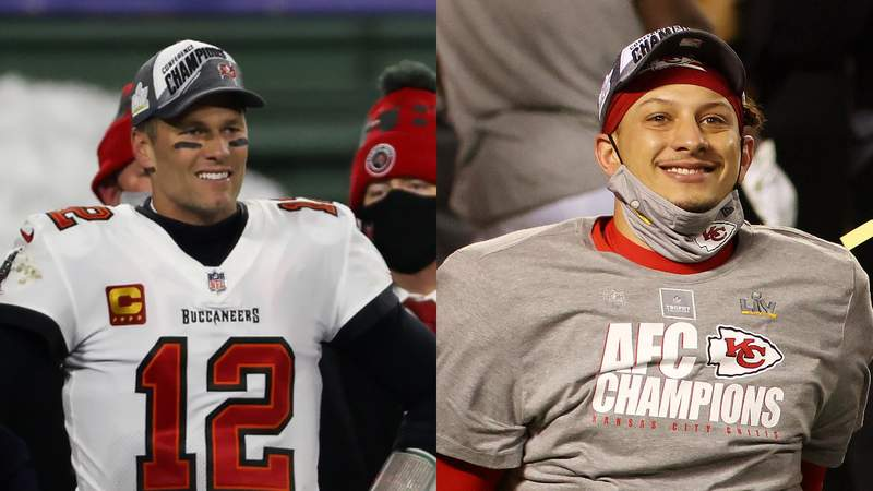 Left: Tom Brady of the Tampa Bay Buccaneers celebrates after beating the Green Bay Packers 31-26 in the NFC Championship game on Jan. 24, 2021. Right: Patrick Mahomes of the Kansas City Chiefs reacts after defeating the Buffalo Bills 38-24 in the AFC Championship game on Jan. 24, 2021.
