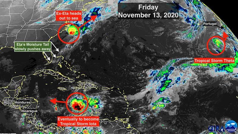 Nov. 13 satellite image of the tropics.