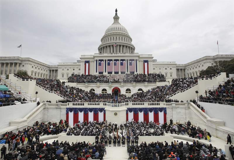 FILE - In this Jan. 20, 2017 file photo, President Donald Trump delivers his inaugural address after being sworn in as the 45th president of the United States during the 58th Presidential Inauguration at the U.S. Capitol in Washington. (AP Photo/Patrick Semansky)