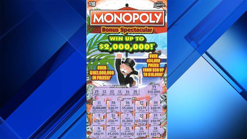 Florida Lottery released this image of a ticket after a Boynton Beach man hit for $2 million on a Monopoly scratch-off.