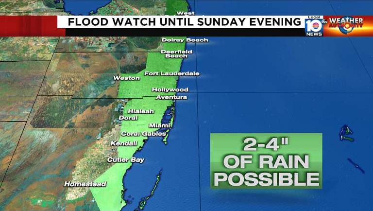 A flood watch is in effect until Sunday evening for coastal South Florida.