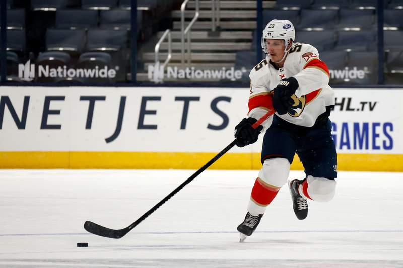 Noel Acciari of the Florida Panthers controls the puck during the game against the Columbus Blue Jackets at Nationwide Arena on January 26, 2021 in Columbus, Ohio.