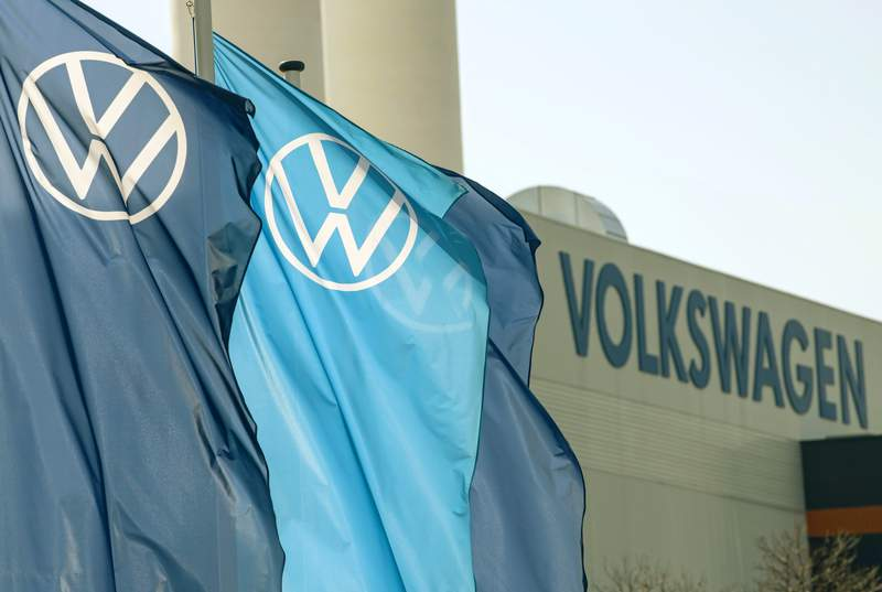 FILE - In this file photo dated Thursday, April 23, 2020, company logo flags wave in front of a Volkswagen factory building in Zwickau, Germany.  Volkswagen will present its final financial statements for the 2020 financial year, on Tuesday March 16, 2021. (AP Photo/Jens Meyer, FILE)