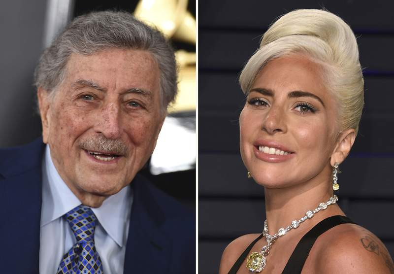 """In this combination photo, Tony Bennett, left, arrives at the 61st annual Grammy Awards on Feb. 10, 2019, in Los Angeles and Lady Gaga arrives at the Vanity Fair Oscar Party on Feb. 24, 2019, in Beverly Hills, Calif. The two music superstars will share the stage this summer when Tony Bennett and Lady Gaga team up for two nights at Radio City Music Hall in New York. """"One Last Time: An Evening with Tony Bennett and Lady Gaga"""" will open on Aug. 3, 2021, which is Bennett's 95th birthday. A second performance is set for Aug. 5. (Photo by Jordan Strauss, left, and Evan Agostini/Invision/AP)"""