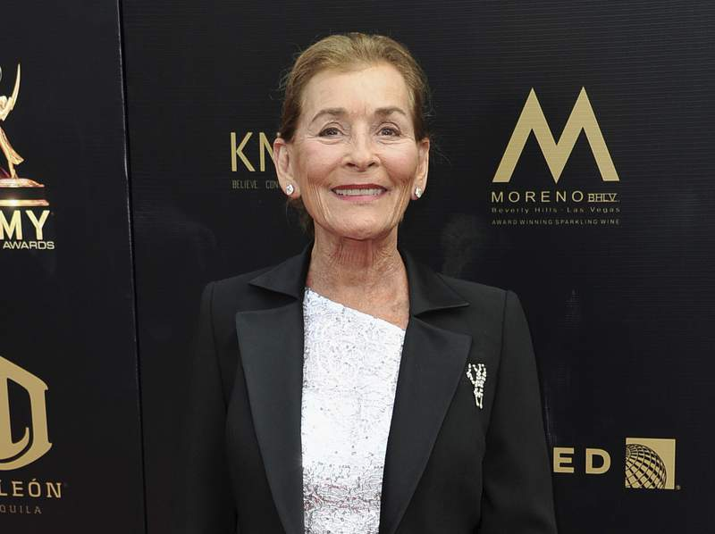 FILE - Judge Judy Sheindlin arrives at the 46th annual Daytime Emmy Awards in Pasadena, Calif., on May 5, 2019.  Sheindlin is returning to television on Nov. 1 with her new show, Judy Justice, which will be available weekdays on the little-known IMDb TV, a free streaming service offered by Amazon. (Photo by Richard Shotwell/Invision/AP, File)