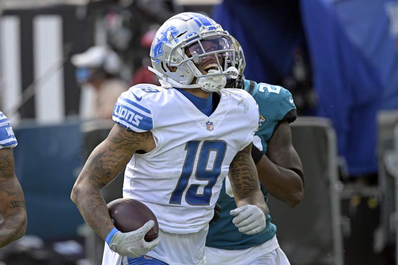 FILE - In this Oct. 18, 2020, file photo, Detroit Lions wide receiver Kenny Golladay (19) celebrates a reception during the second half of an NFL football game against the Jacksonville Jaguars in Jacksonville, Fla. A person with knowledge of the deal told The Associated Press that the New York Giants have worked out contract former Detroit Lions playermaker Kenny Golladay. The person spoke on condition of anonymity on Saturday, March 20, 2021,  because the deal has not yet been announced. (AP Photo/Phelan M. Ebenhack, File)
