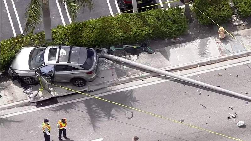 Person waiting for bus hit in 3-car accident in Miami-Dade