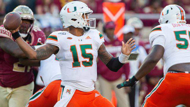 Miami Hurricanes quarterback Jarren Williams throws against Florida State in the second half of a rivalry game, Nov. 2, 2019, at Bobby Bowden Field at Doak S. Campbell Stadium in Tallahassee, Florida.