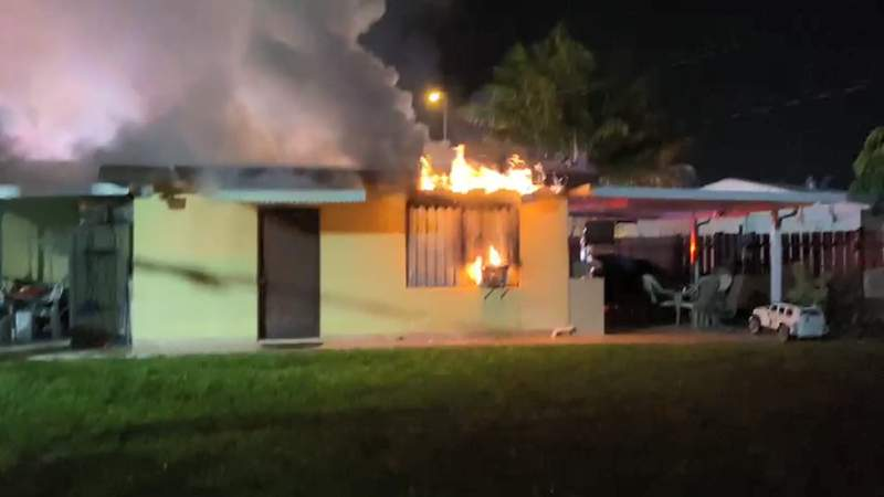 Flames, smoke come from home in Broward County.
