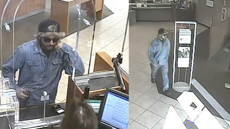 Photos released by the FBI show a bank robber brandishing a gun while demanding money from a Chase Bank employee at a Miami branch.