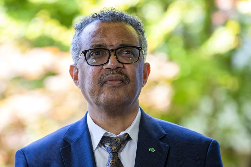 FILE - In this Thursday, June 25, 2020 file photo, Tedros Adhanom Ghebreyesus, Director General of the World Health Organization (WHO), attends a press conference, at the (WHO) headquarters in Geneva, Switzerland. The World Health Organization chief on Monday, July 13 slammed government leaders whose mixed messages have eroded public trust on the coroanvirus. Tedros Adhanom Ghebreyesus warned that their failures to stop their countries spiraling outbreaks means theres no return to normal for the foreseeable future.  (Salvatore Di Nolfi/Keystone via AP, File)