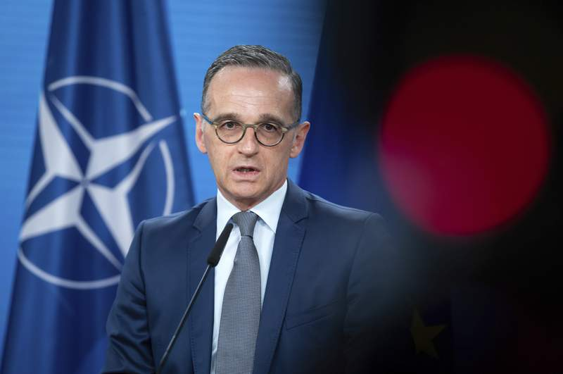 Heiko Maas, Foreign Minister, speaks ahead of the North Atlantic Council meeting at the Federal Foreign Office in Berlin, Germany, Tuesday, June 1, 2021. The main topic of the Nato foreign ministers' meeting, which will be held as a video conference, will be the Nato 2030 strategy process. Russia and Afghanistan are also items on the agenda. (Bernd von Jutrczenka//DPA via AP, Pool)