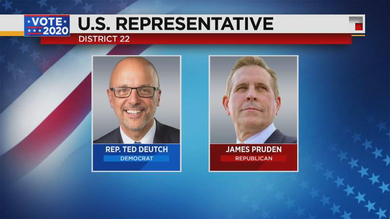 Incumbend Ted Deutch is being challenged by James Pruden in Florida's 22nd Congressional District.