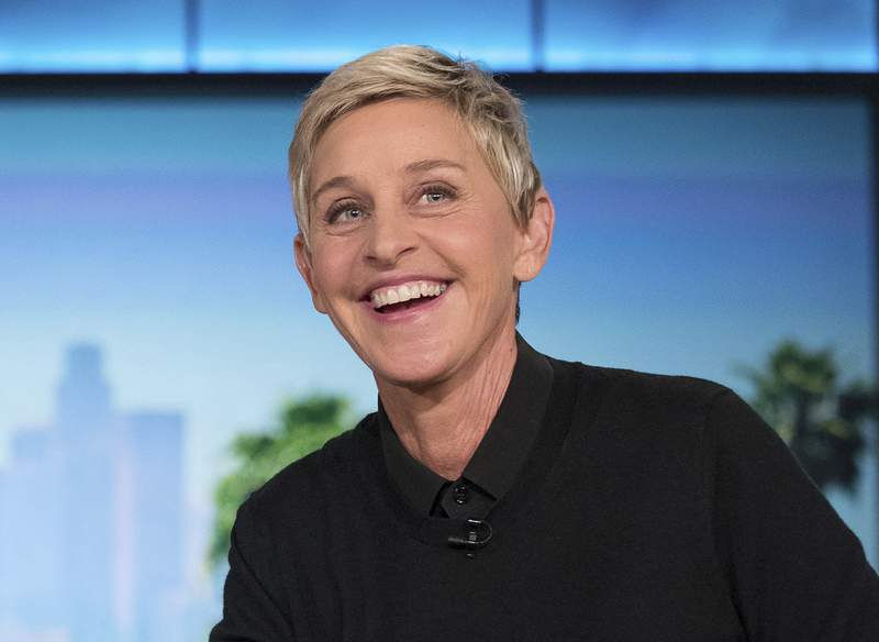 """FILE - In this Oct. 13, 2016, file photo, Ellen DeGeneres appears during a commercial break at a taping of """"The Ellen Show"""" in Burbank, Calif.  The program won outstanding entertainment talk show at the 47th annual Daytime Emmy Awards. (AP Photo/Andrew Harnik, File)"""