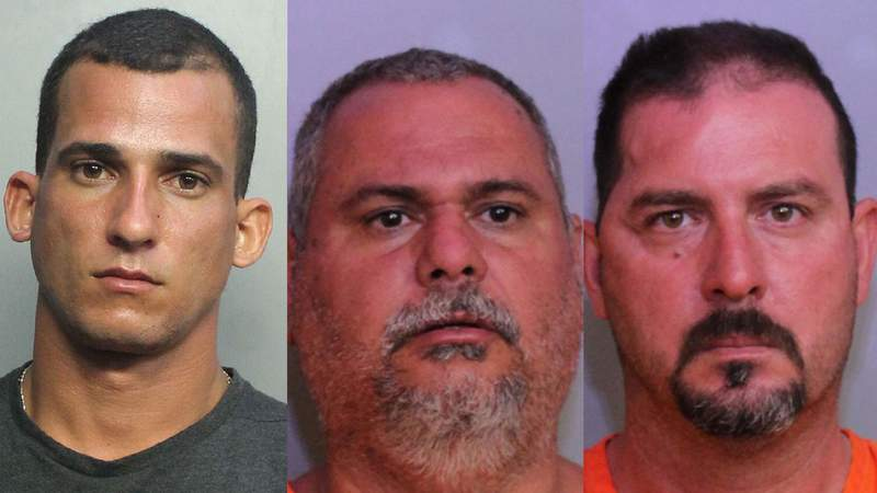 From left, Rodrigo Alberto Mato La Rosa, 27, Lazaro Milian, 50, and Michel Amalfi, 45, face charges in the Jan. 2 attack of a FWC officer in Polk County.