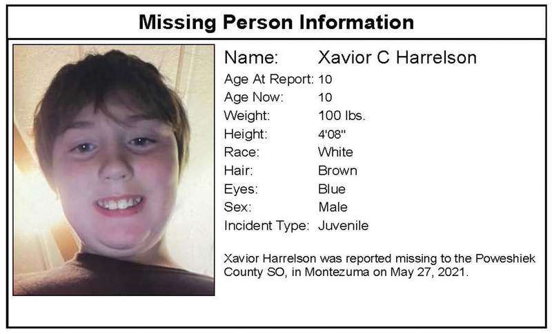 This image provided by the Iowa Department of Public Safety on May 28, 2021 shows 10-year-old Xavior Harrelson. On Thursday, Sept. 30, 2021, investigators searching for Harrelson, who vanished in May days before his 11th birthday, said they have found human remains matching his description in a cornfield outside of Montezuma, Iowa. (Iowa Department of Public Safety via AP)