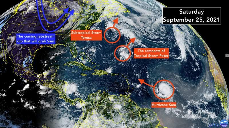 Satellite video of the tropical Atlantic, including powerful Hurricane Sam.