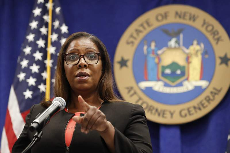 """FILE- In this Aug. 6, 2020 file photo, New York State Attorney General Letitia James takes a question at a news conference in New York. During a Tuesday, Sept. 29 media conference call on an initiative, dubbed """"Operation Corrupt Collector,"""" James offered frank advice to older people who are often seen as easy marks for dubious debt collectors. """"Senior citizens, as I always say, they've earned the right to hang up and to be rude,"""" James said. """"Most seniors are not rude, but when it comes to individuals engaging in illegal conduct, they should hang up and report the collector to the FTC immediately."""" (AP Photo/Kathy Willens, File)"""