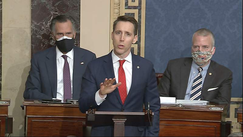 FILE - In this Jan. 6, 2021 file image from video, Sen. Josh Hawley, R-Mo., speaks at the U.S. Capitol in Washington. At least four additional companies that have donated to Hawley have announced they are suspending campaign contributions. The announcements by Cerner Corp. in Kansas City, Ameren Corp. and Edward Jones in St. Louis and the Chicago law firm Bryan Cave Leighton Paisner adds to a growing list of donors who have cut ties to the Missouri Republican senator since the attack on the Capitol last week. (Senate Television via AP File)