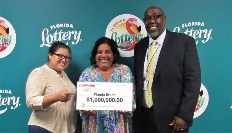 Wanda Brana, of Tampa, hit for $1 million playing Florida Lottery's $5,000,000 Luck scratch-off game.