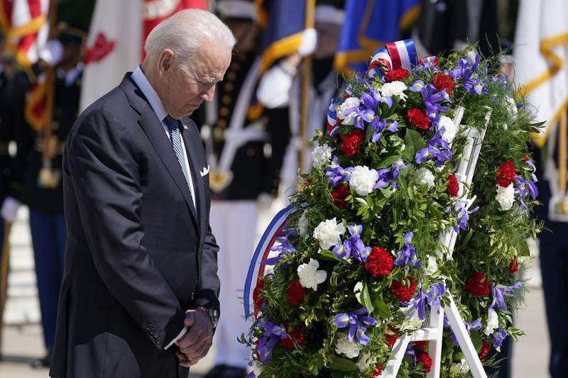 President Joe Biden pauses after placing a wreath at the Tomb of the Unknown Soldier at Arlington National Cemetery on Memorial Day, Monday, May 31, 2021, in Arlington, Va.(AP Photo/Alex Brandon)