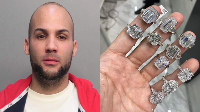 Xandi Garcia, 30, is accused of burglarizing the hotel room of famous New York City jewelry Eric The Jeweler.