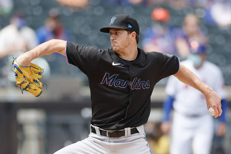 Trevor Rogers of the Miami Marlins pitches during the first inning against the New York Mets at Citi Field on April 10, 2021 in the Queens borough of New York City.