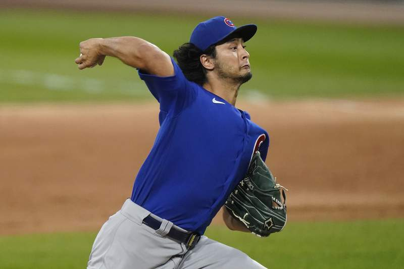 Chicago Cubs starting pitcher Yu Darvish throws to a Chicago White Sox batter during the first inning of a baseball game in Chicago, Friday, Sept. 25, 2020. (AP Photo/Nam Y. Huh)