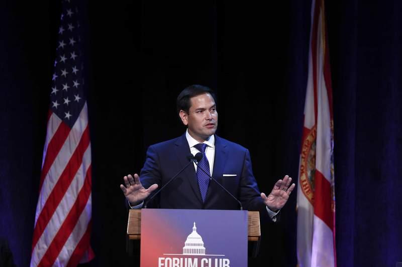 In this Aug. 21, 2019, file photo, Sen. Marco Rubio, R-Fla., speaks during a Forum Club meeting, in West Palm Beach, Fla.  (AP Photo/Brynn Anderson, File)