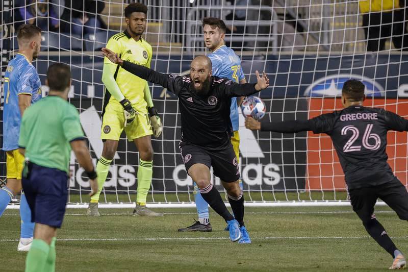 Gonzalo Higuain of Inter Miami CF celebrates after scoring a goal during the second half against the Philadelphia Union at Subaru Park on April 24, 2021 in Chester, Pennsylvania.