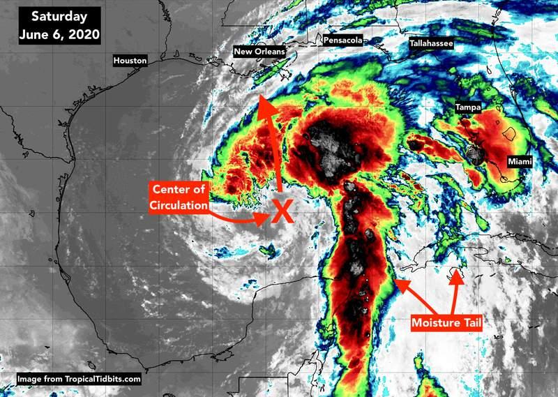 Tropical Storm Cristobal; June 6, 7am map