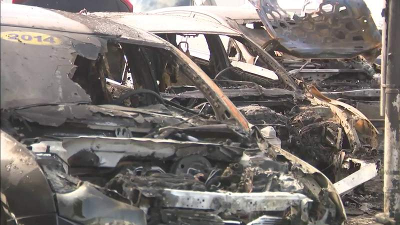 3 vehicles destroyed after fire erupts at Miami dealership