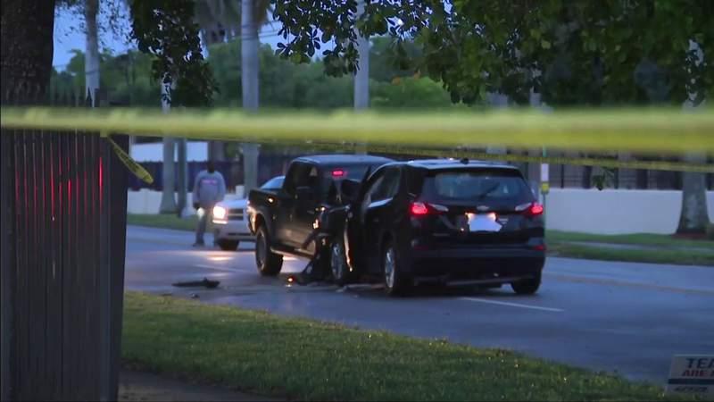 Pickup truck, SUV involved in head-on collision in northeast Miami-Dade