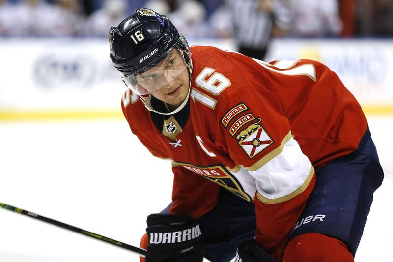Aleksander Barkov of the Florida Panthers prepares for a face-off against the Carolina Hurricanes during the third period at BB&T Center on October 08, 2019 in Sunrise, Florida.