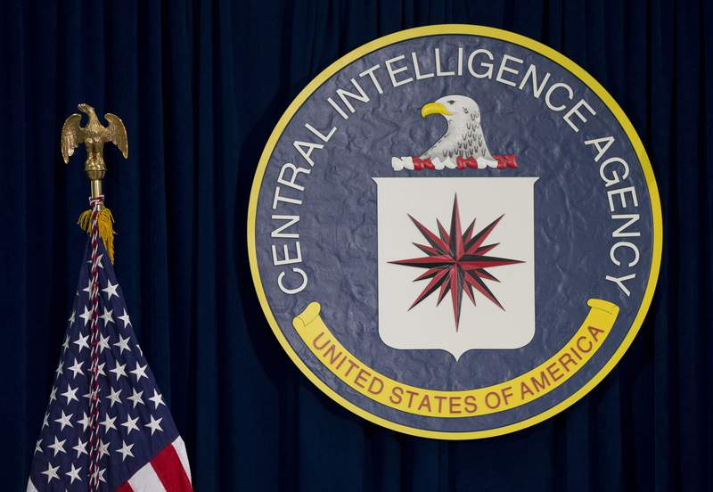 FILE - This April 13, 2016 file photo shows the seal of the Central Intelligence Agency at CIA headquarters in Langley, Va. President Donald Trump's nominee to be the CIA's chief watchdog is pledging independence, saying he will perform his role in an unbiased and impartial manner, free of undue or inappropriate influences by Trump or anyone else.  Peter Thomson, a New Orleans attorney and former federal prosecutor, faced skepticism about his ability to ward off presidential interference at a nomination hearing Wednesday.  (AP Photo/Carolyn Kaster, File)
