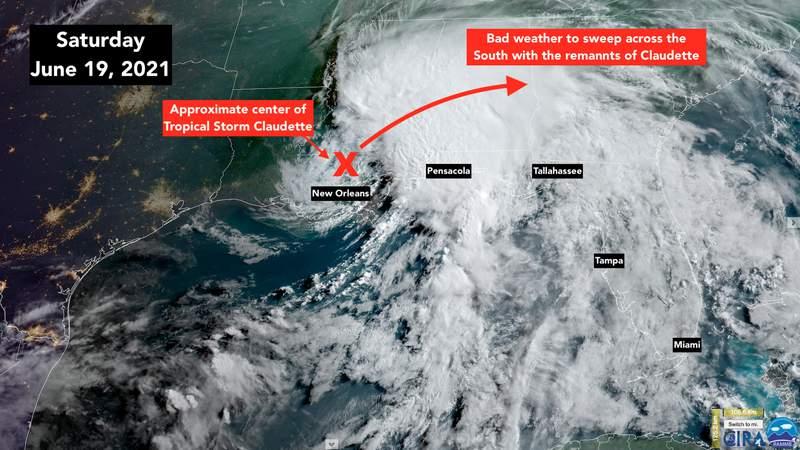 Satellite view of Tropical Storm Claudette.
