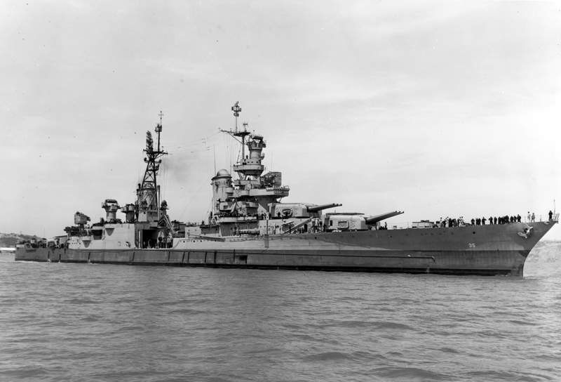 FILE - In this July 10, 1945, photo provided by U.S. Navy media content operations, USS Indianapolis (CA 35) is shown off the Mare Island Navy Yard, in Northern California, after her final overhaul and repair of combat damage. Congress has awarded the Congressional Gold Medal, its highest honor, to surviving crew members of the USS Indianapolis, the ship that delivered key components of the first nuclear bomb and was later sunk by Japan during World War II.  (U.S. Navy via AP)