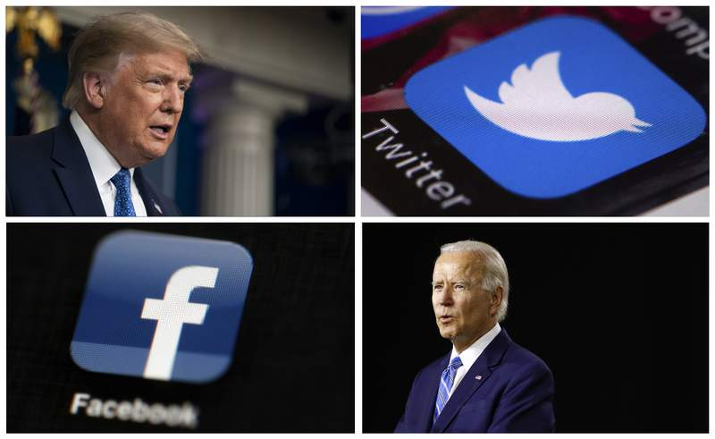 This photo combo of images shows, clockwise, from upper left: President Donald Trump speaking during a news conference at the White House on July 22, 2020, in Washington, the Twitter app, Democratic presidential candidate, former Vice President Joe Biden speaking during a campaign event on July 14, 2020, in Wilmington, Del., and the Facebook app. With just 100 days to go until Election Day, President Donald Trump and his Democratic rival Joe Biden aren't just attacking one another in online ads. Their ads are also targeting tech companies like Facebook and Twitter. (AP Photo)
