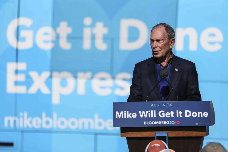 Democratic presidential candidate Michael Bloomberg speaks during his presidential campaign in Austin, Texas, Saturday, Jan. 11, 2020. (Lola Gomez/Austin American-Statesman via AP)