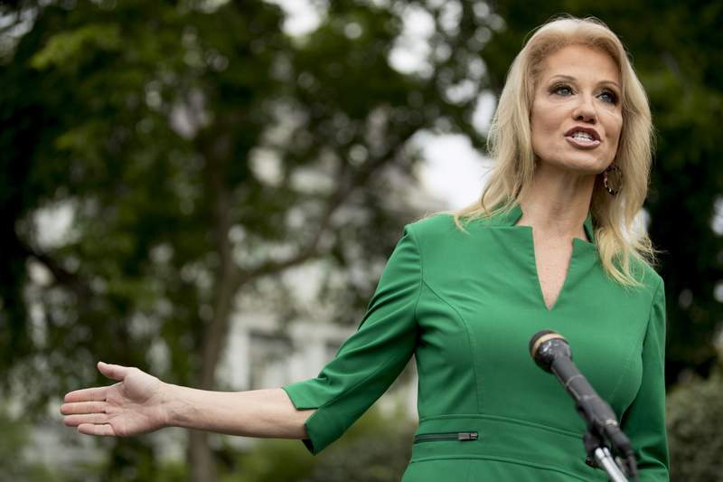 Counselor to the President Kellyanne Conway speaks to reporters on the North Lawn outside the West Wing of the White House in Washington, Wednesday, May 27, 2020. (AP Photo/Andrew Harnik)