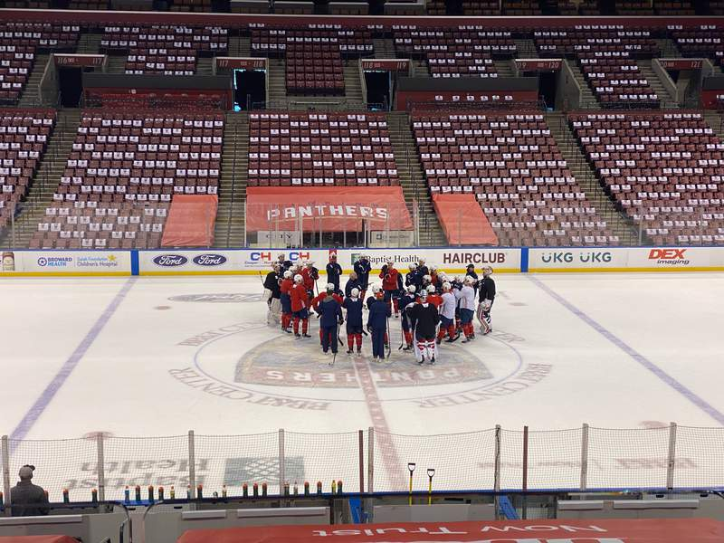 Florida Panthers head coach Joel Quenneville speaks to his players on the morning of Game One of the team's Stanley Cup Quarterfinal series against the Tampa Bay Lightning.