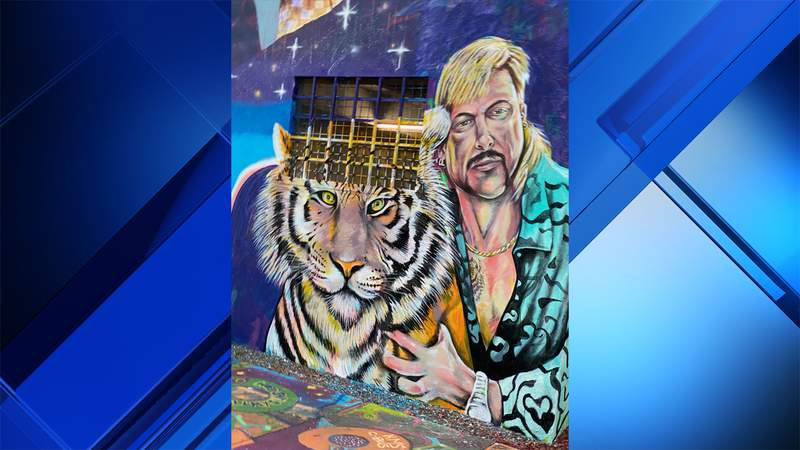 """A 16-foot mural of """"Tiger King"""" documentary subject Joe Exotic has been hand-painted in Miami's Wynwood neighborhood by artist Kyle Holbrook."""