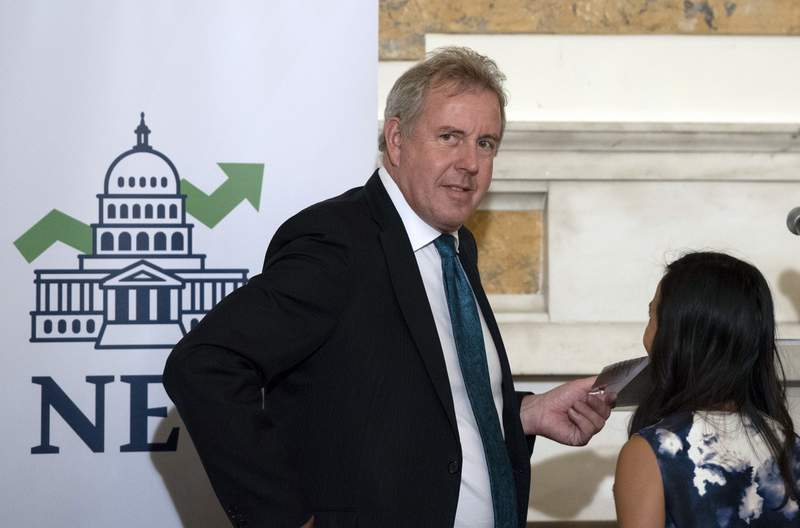 FILE - In this Friday, Oct. 20, 2017, file photo, British Ambassador Kim Darroch hosts a National Economists Club event at the British Embassy in Washington. Darroch, who was British ambassador to the United States until leaked comments about Donald Trump ended his career in July 2019,  says hes not bitter about the way his career ended, and he tells his side of the story in a new memoir Collateral Damage. (AP Photo/Sait Serkan Gurbuz, File)