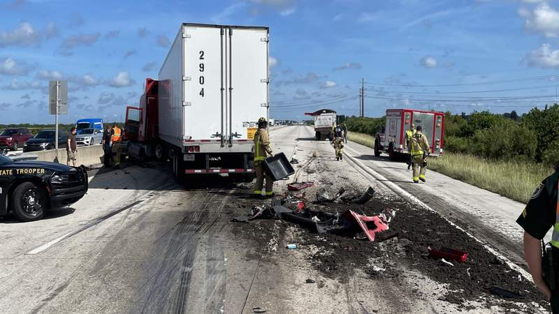 The FHP says cow manure forced authorities to close I-95 in Brevard County.