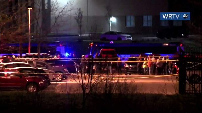 Scene of mass shooting at FedEx facility in Indianapolis.