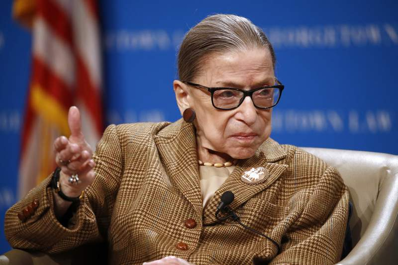 FILE - In this Feb. 10, 2020, file photo U.S. Supreme Court Associate Justice Ruth Bader Ginsburg speaks during a discussion on the 100th anniversary of the ratification of the 19th Amendment at Georgetown University Law Center in Washington. (AP Photo/Patrick Semansky, File)