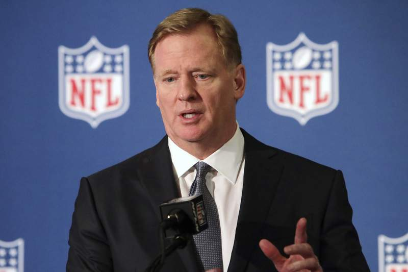 FILE - In this Dec. 12, 2018, file photo, NFL commissioner Roger Goodell speaks during a news conference in Irving, Texas. The NFL, which has raised $44 million in donations through its Inspire Change program, announced the additional $206 million commitment Thursday, June 11, 2020, targeting what it calls systemic racism and supporting the battle against the ongoing and historic injustices faced by African Americans. (AP Photo/LM Otero, File)